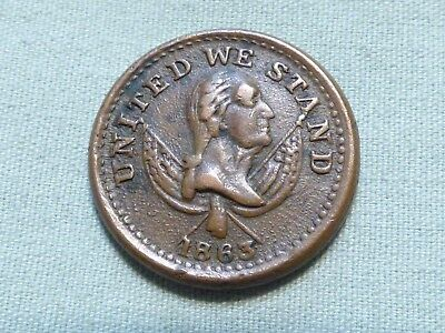 Rare 1863 Civil War Token - United We Stand, Broas Brothers Pie Bakers /Item 309