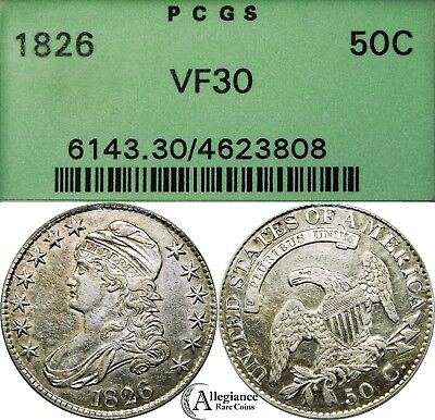 1826 50c Capped Bust Half Dollar PCGS VF30??? OGH old green holder rare old coin