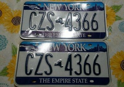Vintage New York License Plates-The Empire State, Blue Skyline