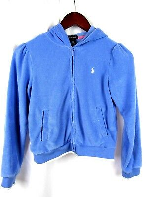 Girls Polo Ralph Lauren Blue Hoodie Full Zip Jacket White Pony Youth L