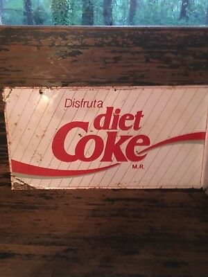 "Vintage 1970's Diet Coke tin flange sign 22"" x 11 1/2"""