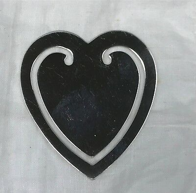 Signed Tiffany & Co. Sterling Silver Heart Shape Bookmarker