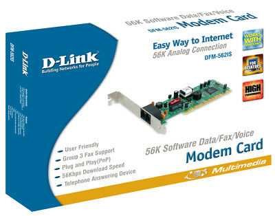 Dlink PCI 56K MODEM CARD DFM-562IS Complete in Box /w Driver Software Modem Box