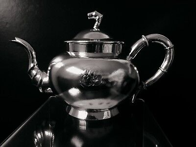 Chinese export steriling silver teapot 1880' with family crest RARE!