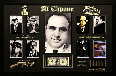Al Capone Memorabilia Signed And Framed Limited Edition Poster Photo