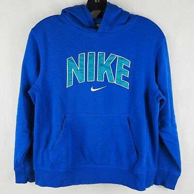 Nike Boys' Sweater Hooded Pouch Pocket Spell Out Hoodie Cotton Blend Blue Large