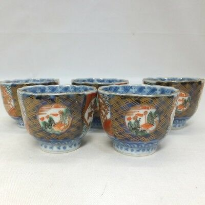 A129: Classy Japanese OLD IMARI beautiful colored porcelain five SAKE cups