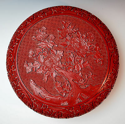 """ANTIQUE CHINESE HAND CARVED CINNABAR PRESENTATION BOX Large 12"""" Lacquer"""