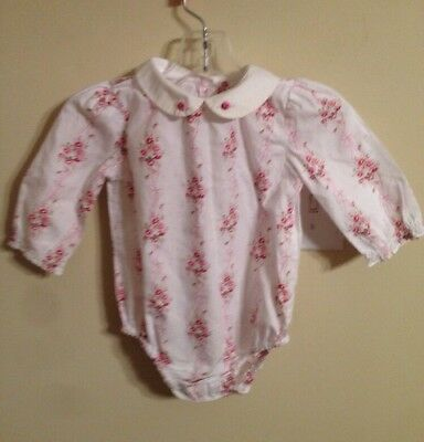 Janie and Jack Layette baby girl floral romper w embroidered collar 6-12 months