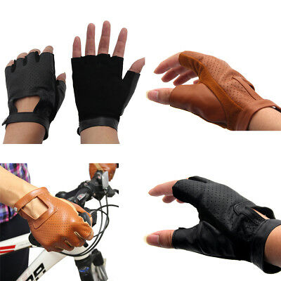Genuine Leather Sheepskin Fingerless Cycling Driving Gloves Motorcycle AU Local
