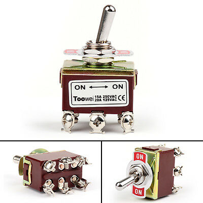 4Pc 2 Terminal 6Pin ON-ON 15A 250V Toggle Switch Screw DPDT Industrial Grade UE