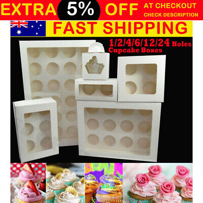 Premium Cupcake Box Range 2  4 6 hole 12 hole 24 hole Window Face Cases Party