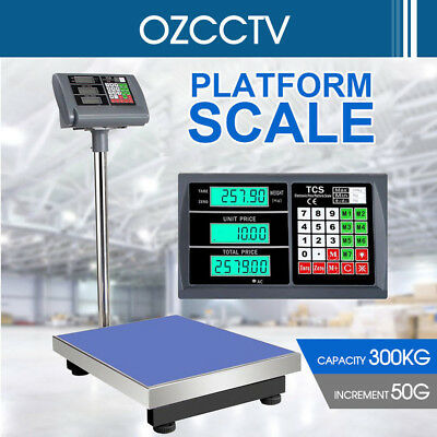 300kg Electronic Digital Platform Scale Computing Shop Postal Scales Weight AU