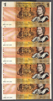 5x Commonwealth of Australia 1966 Coombs/Wilson $1 Consecutive Notes R71