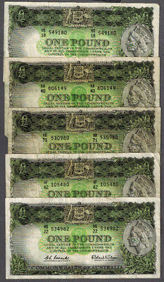 5x Commonwealth of Australia 1953-61 Coombs/Wilson One Pound Banknotes R33 & R34
