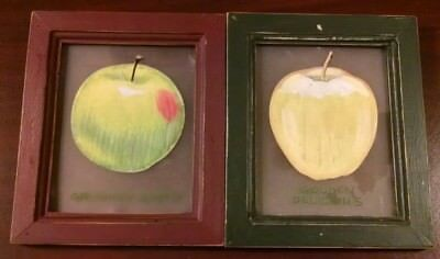 Vintage Set of 2 Granny Smith & Golden Delicious Apple 5x6 Hanging Wall Pictures