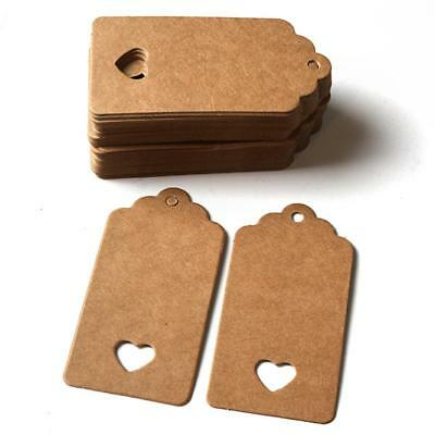100pcs Blank Kraft Paper Gift Price Tags Wedding Scallop Label Luggage Tags