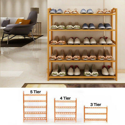 3 4 5 Layers Natural Bamboo Organizer Shoe Rack Storage Household Shelf Stand