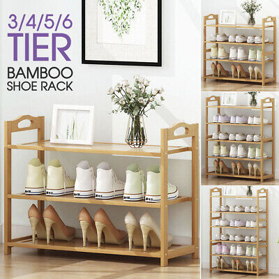 Multiple Layers Natural Bamboo Organizer Shoe Rack Storage Household Shelf Stand