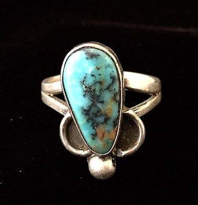 Native American Indian Vintage A+ Turquoise Sterling Silver Ring Size 7.25