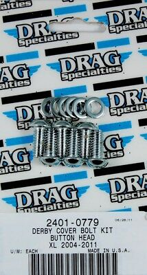 Drag Specialties Derby Cover socket-Head Bolt Set Chrome Knurled MK686 2401-0779
