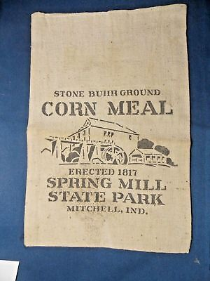 """Canvas Bag Corn Meal Department of Conservation State of Indiana 7 1/2"""" X 11"""""""