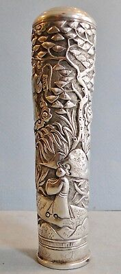Antique Chinese Export Silver Parasol Or Cane Handle Figural Decor Canton 1890