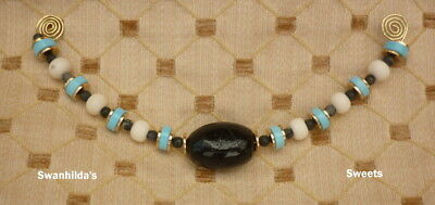 Larp Viking Handcrafted Part-Necklace Chalk Turquoise, Marble, Bone & Glass Swsw