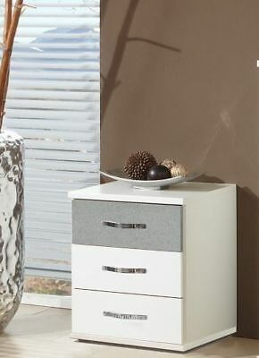 German Duo Concrete Grey & White 3 Drawers Bedside Chest Industrial Style