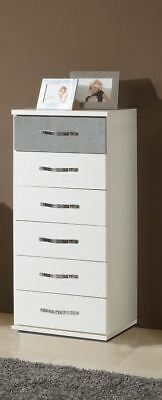 German Duo Concrete Grey & White 6 Drawers Narrow Chest Industrial Style
