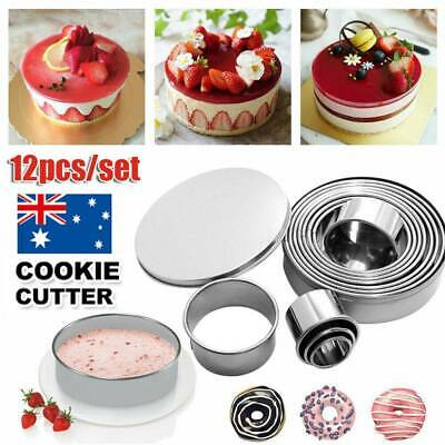 12pcs/Set Stainless Steel Round Cake Biscuit Cookie Cutter Mold Baking Mould