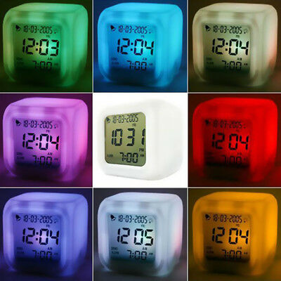 Home Bedroom 7 Color LED Glowing Change LCD Digital Thermometer Alarm Clock