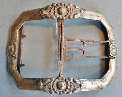 Antique French Solid Silver Belt Buckle Late 18Th Century Floral Rare Paris 1800