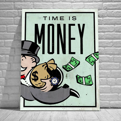 Alec Monopoly Oil Painting on Canvas Graffiti art ,Time Is Money 36x48