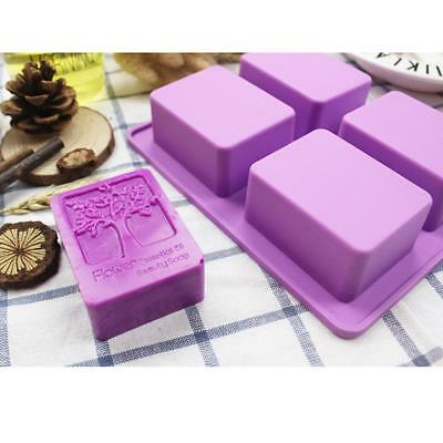 4 Cavity Square Tree Shaped Silicone DIY Handmade Soap Mold Muffin Cup Cake