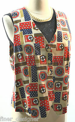 TALBOTS NEW YACHT CLUB sailing anchor red blue Nautical lined VEST top SIZE S