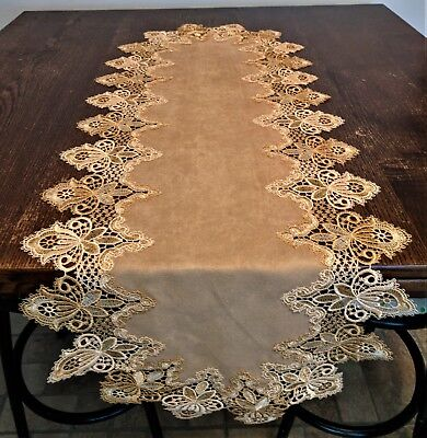 Doily Boutique Table Runner or Doily with Vintage Gold Lace and Brown Microsuede