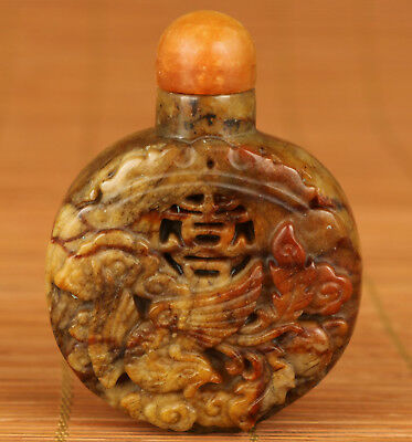 Chinese Old Jade Hand Carving Phoenix Collect Statue Snuff Bottle Noble Gift