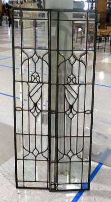 Antique Pair Set Stained Leaded Glass Window Panel Architectural Beveled Clear