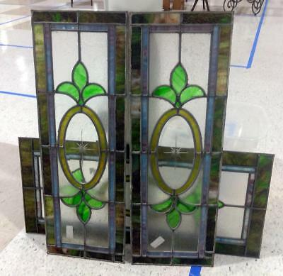 Set of 3 Vintage Antique Stained Leaded Glass Window Panel Architectural Salvage