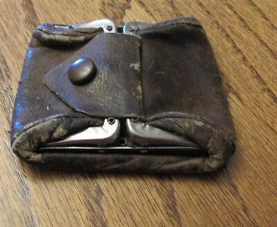 Antique RARE Small Metal Hinged Leather BRASS Coin Purse NEW HAVEN ROME