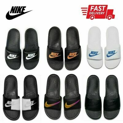 b3e018076b77 Mens NIKE Benassi JDI Slide Sandals Sliders Flip Flops Slippers Black  UK6-UK15