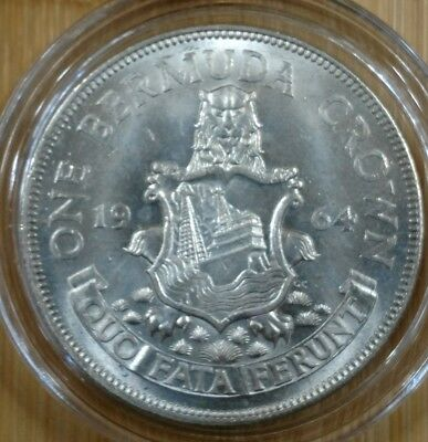 1964 Bermuda 1 Crown Silver Coin - Brilliant Uncirculated W/ Capsule