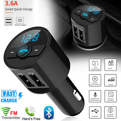 3.6A Wireless Bluetooth Car 2USB Charger FM Transmitter Radio Adapter MP3 Player