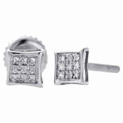.925 Sterling Silver Pave Genuine Diamond Studs Mini 5mm Kite Earrings 0.05 Ct.