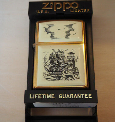 NEW Zippo solid Brass Scrimshaw ship lighthouse commemorative 1932 - 1991
