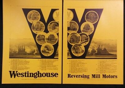 Vintage Ad 1920's WESTINGHOUSE REVERSING MILL MOTORS DOUBLE AD & 3 OTHER ADS #25
