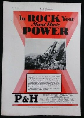 Vintage Ad 1929 P&H EXCAVATORS & HERCULES ENGINES  On MAGAZINE COVER PAGE    #36