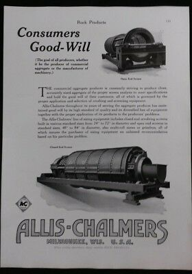 Vintage Ad 1920's ALLIS-CHALMERS SIZING EQUIPMENT & NACO CAST STEEL CHAIN  #13