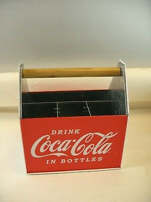 Drink Coca Cola in Bottles metal carry case with wooden handle 2008